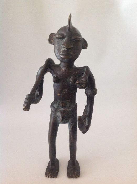 Heavy Bronze Figure, Hunter with Bow and Arrow - Africa