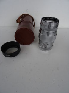 Objectif Canon 3.5/135 mm + leather case + lens hood – lenses in good condition