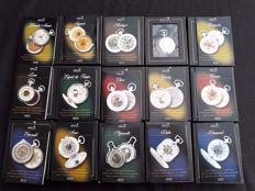 Collection of 15 mechanical pocket watches sliver-plated with hanging display case