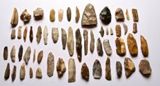 Lot with 55 early Neolithic tools and points 105 - 19 mm (55)