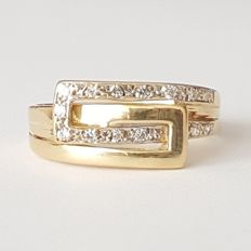 18 kt yellow gold belt shaped ring - size:  17.8 mm, 16/56 (EU)