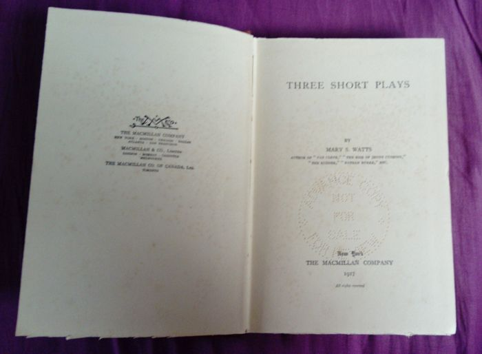 Mary S. Watts - Three Short Plays - 1917