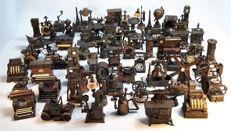 Large collection of metal copper-coloured miniatures, pencil sharpeners - 73 items! Including Playme / Play Me / play me