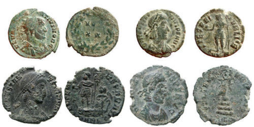 Roman Empire - Four roman bronze coins lot. Constantius II (2) AE16-18 (Cyzicus and Arles),  Constans AE 17 from Arles mint and Constantius I radiateI from Rome.