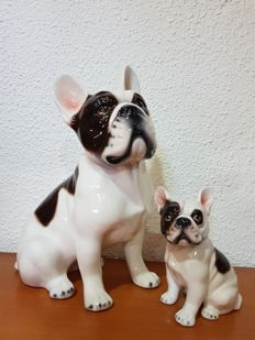 Unknown author - Porcelain French Bulldog - 32 cm