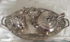 Silver 800 coffee set with tray