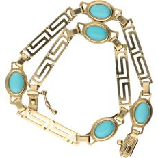 14 kt - Yellow gold bracelet with Greek pattern and is set with turquoise - length: 19.5 cm