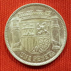 Second Republic - 1 peseta silver coin - Year: 1933 - Stars 3-4