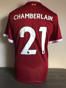 Alex Oxlade-Chamberlain Liverpool home shirt 17/18 with photo of the signing moment and certificate of authenticity.
