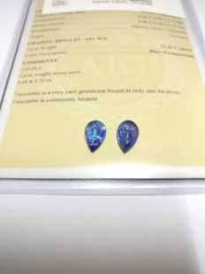 Couple Tanzanite Blue 11.23 ct   No Reserve Price