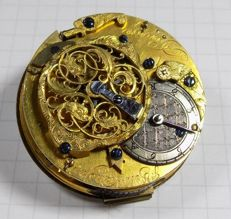 J&M Vieusseux - alarm pocket watch - movement + dial + gold hands - 1700's