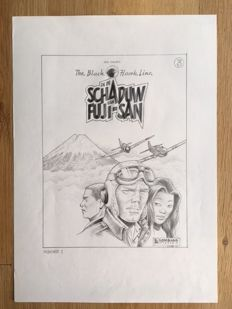 Staller, Jack - Original cover sketch - The Black Hawk Line - In de schaduw van Fuji-San - (1992)