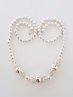 925 silver necklace with spherical links and pattern - length: 45 cm