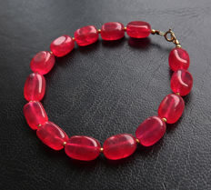 Ruby bracelet with clasp in 14 kt gold - 20 cm