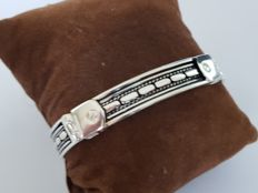 925 silver link bracelet with patterns, 17 cm
