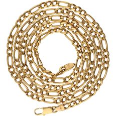 18 kt - Yellow gold Figaro link necklace - Length: 74 cm