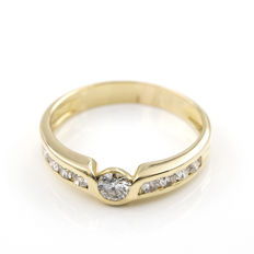 Yellow gold 18 kt - Cocktail ring - Brilliant cut Diamonds 1 ct - Cocktail ring size 17 (SP)