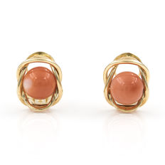 18 kt (750/000) yellow gold -  Earrings - Pacific natural coral.
