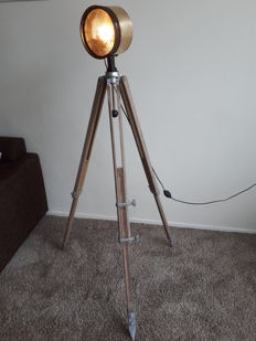 Antique Ship lamp (Searchlight) on wooden tripod.