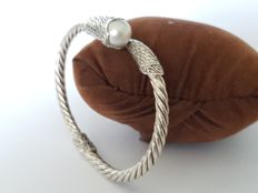 925 Silver braided bracelet set with a pearl - width/diameter 65 mm