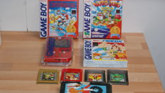 Gameboy with 3 CIB Gameboy games. Games like :  Super Mario land - Wario land - Asterix & Obelix - Exitebike - Pokemon Red and Gold