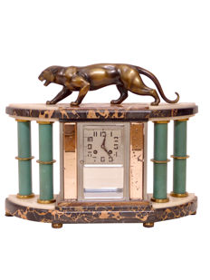 Mantel clock with a panther - bronze sculpture - original Art Deco