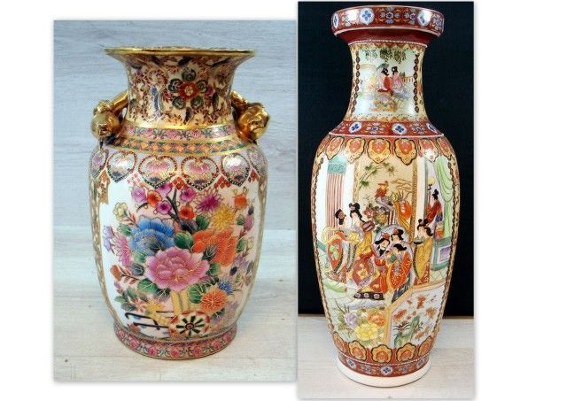Two Colourful Decorative Chinese Vases 31 And 61 Cm High China