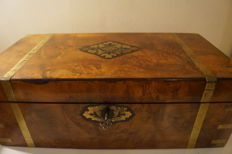 A large walnut and brass inlaid writing box, England, 1875