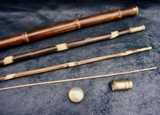 System cane, here bamboo fishing rod with a head and ferrule in bronze - France - 1920