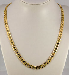 14 kt gold necklace gold 585 flat curb chain, width 6.3 mm, length 50 cm, karabiner - new