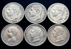 Spain - Alfonso XII and Alfonso XIII - Lot of 6 silver coins of 50 cents from 1880 to 1910.