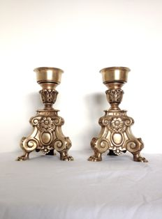 A pair of heavy hand-forged, small church candle holders - France (Versailles) - early 18th century