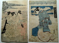 Two original wood carvings by Utagawa Kunisada (1786-1865) and Keisai Eisen (1790-1848) - Bijin 0 approx. 1840s
