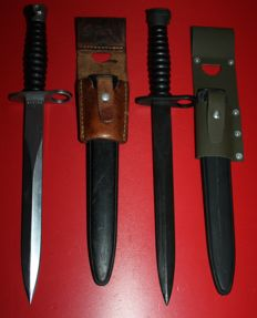 Lot of 2 Swiss bayonets, 1 for SIG 57 and 1 export for M 16, Maker: Wenger, Victorinox since 2005, both with frog, see pictures
