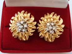 Vintage 1970s - Signed Ervin Pearl - 14K Gold Plated Statement Earrings with Diamante in Floral motif