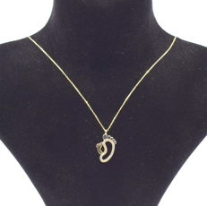 14 carat yellow gold necklace  with  Baby foot pendant  43 cm