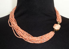 Beautiful coral necklace, collier, angel skin coral, 800 silver necklace pearl necklace