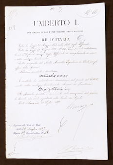 Decree with original signatures by King of Italy Umberto I and Minister of war Bertolè - 1887