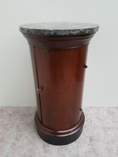 An Empire mahogany bedside table with marble top - France - first half of 19th century