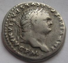 "Roman Empire - Titus 79-81 AD, AR denarius ""Draped Throne"" struck at Rome 80 AD"