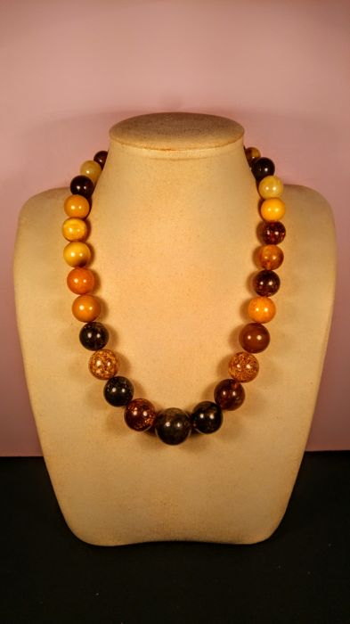 Perfect polished Round beads modified Baltic amber necklace, length 54 cm, 82 grams