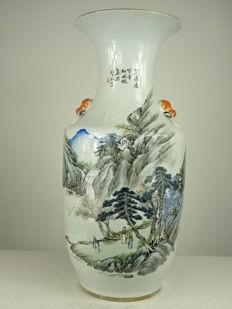 A fine landscape vase - China - Dated 1914