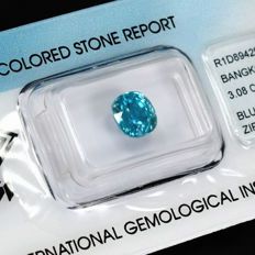 Blue zircon – 3.08 ct