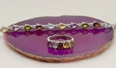 Mixed 7.5 ct gemstone bracelet & 2.5 ct ring of solid silver - with certificate - NO reserve
