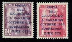 Spain 1950 - Caudillo's visit to the Canary Islands First issue - Edifil 1083A/B