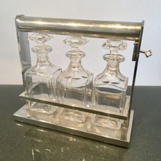 'Tantalus', chrome-plated minibar with 3 bottles, original Art Deco