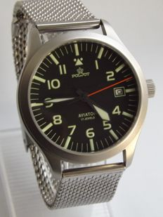 Poljot Aviator Pilot men`s watch 00s made in Russia in 1 Mchz Russian military style Aviator watch