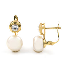 Yellow gold, 18 kt - Earrings - Natural cultured button pearls