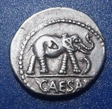 Roman Imperatorial - Julius Caesar, 49-48 BC, War Elephant advancing right, trampling on serpent; Military mint travelling with Caesar.