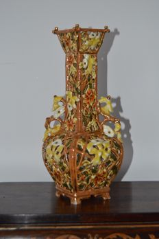 Zsolnay Ceramic twin handeled vase